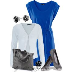 Great work outfit - Bright Blue Dress by wishlist123 on Polyvore