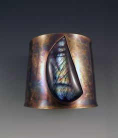 Patti West Cuff, nu gold, brass with labradorite