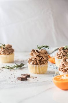 Orange Chocolate Rosemary Cupcakes