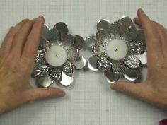 Here's a lovely handmade Christmas gift or decoration for your table. This tealight holder is made with the Flower Folds Die from Stampin' Up!, and aluminum flashing from the building supply store. They are quick and easy to make, and are sure to wow your guests.  www.stampingmadly.com