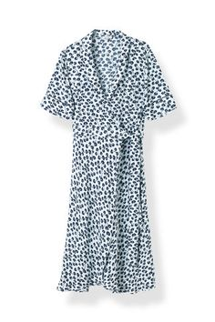 Emory Crepe Wrap Dress, Pearl Blue