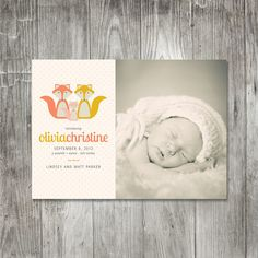 Fox Baby Announcement by pinklilypress on Etsy, $2.50