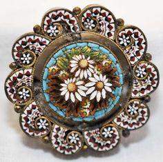 Vintage Micro-Mosaic Round Floral Brooch