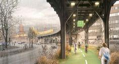 Ciclovia coberta de Berlim com hortas e piso inteligente