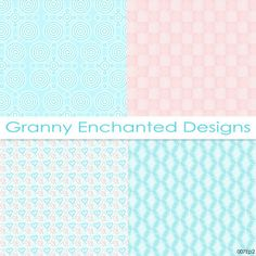 Soft Beach: 12 Digital Papers in Teal Blue by GrannyEnchanted Digital Scrapbook Paper for baby 007p2 GrannyEnchanted