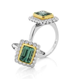 One for the athletes....an 18ct white gold ring featuring an African Tourmaline, bezel set in 18ct green gold.     ww.billhicksjewellery.com.au