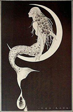 Trendy art nouveau mermaid tattoo the moon Ideas Trendy Art Nouveau Meerjungfrau Tattoo der Mond Ideen Fantasy Kunst, Fantasy Art, Arte Sketchbook, Mermaids And Mermen, Mermaid Tattoos, Inspiration Art, Alphonse Mucha, Merfolk, Mermaid Art