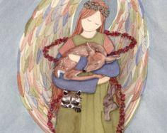 Weimaraner with angel / Lynch signed folk art print Weimeraner