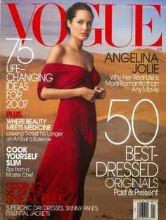 The cover of Vogue composes of a primary color (Red).