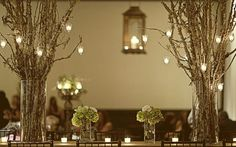 Love this rustic look for centre pieces!  Im doing half baby's breath in mason jars and half branches.