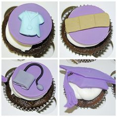 Nursing School Graduation Cupcakes by Simply Sweets Nurse Cupcakes, Kid Cupcakes, Graduation Cupcakes, Cupcake Cakes, Cupcake Ideas, Cup Cakes, Nursing School Graduation, Graduate School, Medical School