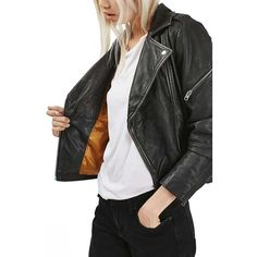 Women's Topshop 'Lightning' Leather Biker Jacket found on Polyvore featuring polyvore, women's fashion, clothing, outerwear, jackets, black, asymmetrical moto jacket, leather jackets, genuine leather jackets and rider jacket