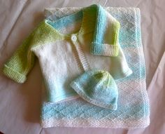 Knit blanket, sweater and hat