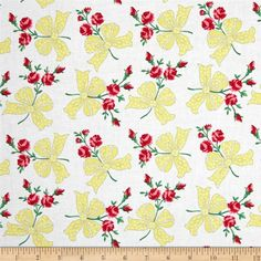 Michael Miller Retro Florals Faye Sunny from @fabricdotcom  Designed for Michael Miller, this cotton print fabric is perfect for quilting, apparel, and home decor accents. Colors include pink, grey, yellow, shades of green, and shades of red.