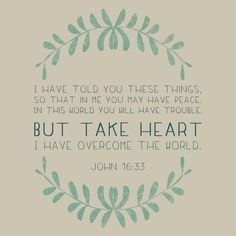 I have told you these things, so that in Me you may have peace. In this world you will have trouble. But take heart, I have overcome the world. The Words, Cool Words, John 16 33, Be My Hero, Overcome The World, Take Heart, How He Loves Us, Bible Verses Quotes, Scriptures
