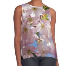 Spring Pink blossom branch Women's Contrast Tank by #PLdesign #FlowerGift #spring #blossoms