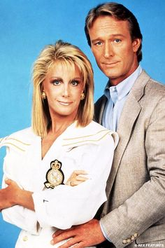 "Joan Van Ark and Ted Shackleford as (Val and Gary Ewing)  -  ""Knots Landing."""