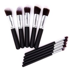 Deluxe Daily Makeup Brushes in Black & Silver (10pc-set), 57% discount @ PatPat Mom Baby Shopping App