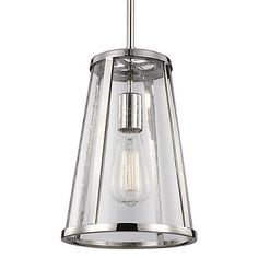Transparent lighting that shows off its inner functionality. The Feiss Harrow Mini Pendant takes a cone-shaped shade with a clear seedy glass barrier and a solid steel frame to lend wide space illumination. The exposed bulb within is highlighted by the optical quality of the bubbles in the glass, making the diffusion of light unique. Vintage filament bulb recommended for aesthetic enhancement. Suspends from adjustable downrods and rounded canopy.