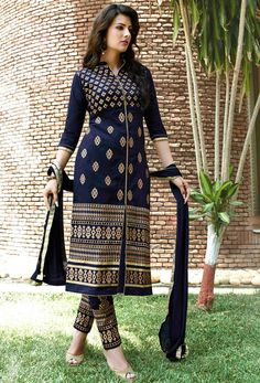 USD 32.99 Navy Blue Cotton Churidar Suit 49621