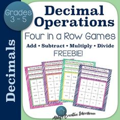 Decimal Operations 4 in a Row Partner Game FREEBIE Operation Game, 4 In A Row, Grade 6 Math, Different Games, Game Pieces, Learning Centers, Middle School