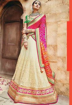 Beige Net,Georgette Designer Saree With Heavy Embroidery Work 32
