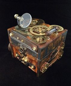 Steampunk Clockwork Jewelry box, handmade and one-of-a-kind with vintage clock gears and plates