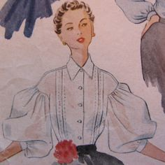 GLAM 1950s Pleated Blouse, McCall's Pattern 8961, Bust 32