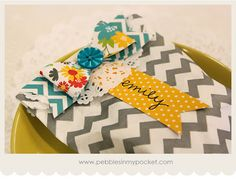 Pebbles In My Pocket Blog: chevron gift bag with handmade paper bow