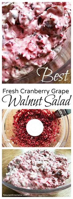One of our best holiday salads is my Mom and Aunt Barbara's BEST Fresh Cranberry Grape Walnut Salad, delicious for a potluck or dinner party! Fresh Cranberry Salad, Fresh Cranberry Recipes, Cranberry Walnut Salad, Cranberry Sauce, Fresh Cranberry Jello Salad Recipe, Cranberry Cheesecake, Cranberry Muffins, Grape Salad, Deserts