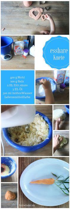 Super einfache Anleitung für geschmeidige Knete aus Lebensmitteln. Perfekt für kleine Knetfinger. Essbar - aber nicht sonderlich kulinarisch im Abgang :-) #DIY #basteln #knete