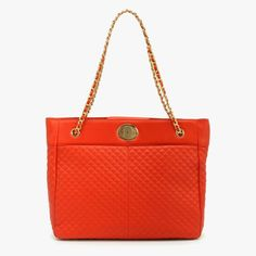 Bodhi Quilted Chain Tote In Tangerine Tango featured in vente-privee.com