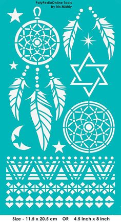 """Stencil Stencils Templates """"Dream Catcher, Star of David"""", self-adhesive, flexible, for polymer clay, fabric, wood, glass, card making"""