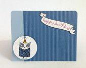 Owl Birthday Card - Owl Happy Birthday Card - Happy Birthday Card - Cute Happy Birthday Card - Kids Happy Birthday Card - Boy Birthday Card