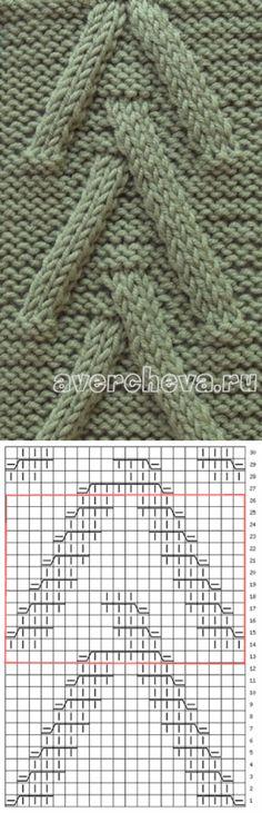 узор спицами 559 «елочка» из жгутов | каталог вязаных спицами узоров