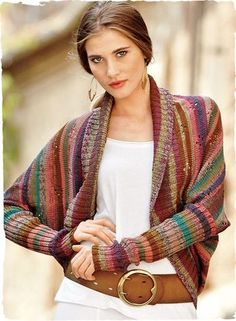 Anyone know where I can purchase the pattern? Crayon Stripe Pima Cotton Shrug Kaffe Fassett's whimsical art knit, in colorful pointelle bands, with a wide-ribbed shawl collar, drop shoulders, curved hem and extra-long sleeves. Moda Crochet, Knit Crochet, Shrug Sweater, Pulls, Hand Knitting, Knitting Club, Knitting Sweaters, Knitwear, Knitting Patterns