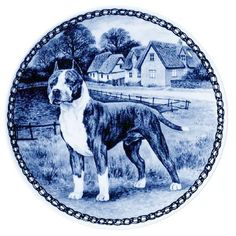 American Staffordshire Bull Terrier: Danish Blue Porcelain Plate -7327 ** Continue to the product at the image link. (This is an affiliate link) #MyPet