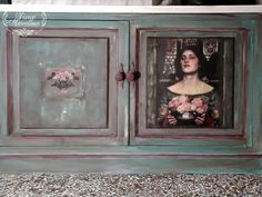 A lady with a special taste and love for heavily distressed furniture asked me to paint two of her kitchen cabinets I used Annie Sloan chalk paint and image medium,moulds of Iron Orchid Designs , image transfer of a painting of John William Waterhouse and decoupage paper-choice of the owner. Irida Kyriakopoulou  #anniesloan #ironorchiddesigns #chalkpaint #paintedfurniture #kitchencabinets #Waterhouse #imagetransfer Distressed Furniture, Painted Furniture, Annie Sloan Chalk Paint Furniture, Gilding Wax, John William Waterhouse, Iron Orchid Designs, Water House, Decoupage Paper, Painting Kitchen Cabinets