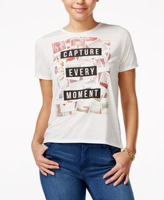 b0f9231df Mighty Fine Juniors' Capture Every Moment Graphic T-Shirt & Reviews - Tops  - Juniors - Macy's