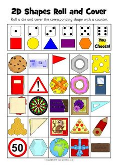 2D Shapes Roll and Cover Activity (SB12360)