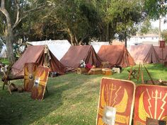 In my opinion, a site should look as close to historically accurate as you can manage and afford. There should be room for you to work, and the public to wander- Roman Encampment Old Fort MacArthur Days-