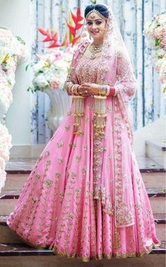 Trending designer lehengas for bride in shades of pink as in inspiration for a gorgeous look. Pick your bollywood style lehenga outfit before you choose online wedding vendor to buy one for you. Pink Bridal Lehenga, Wedding Lehnga, Indian Bridal Lehenga, Wedding Bride, Pink Lehenga, Wedding Hijab, Wedding Wear, Farm Wedding, Wedding Couples
