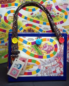 Upcycled Blue Candy Land Board Game Purse Novelty Gift made from candy Land game board Old Board Games, Board Game Pieces, Old Games, Game Boards, Crafts To Sell, Fun Crafts, Diy And Crafts, Crafts For Kids, Paper Crafts