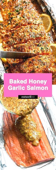 Baked Honey Garlic Salmon in Foil — Sweet and tangy flavors shine in this bright seafood dinner. A whole salmon fillet coated in honey mustard garlic sauce gets baked in foil and broiled to a flaky…
