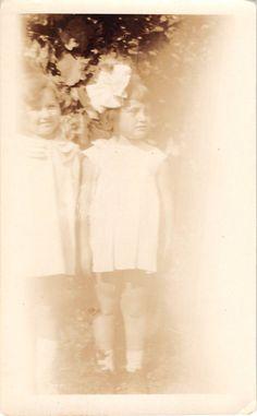 Black and White Vintage Snapshot Photograph 2 Girls Flower Bow Dress 1920'S | eBay