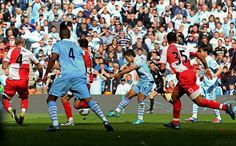 Aguero scores the crucial 3-2 goal against QPR in the 93rd minute making Manchester City champions. Unbelievable turnaround.