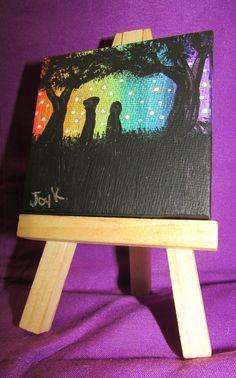 Mini Canvas - Rainbow Night by FerretJAcK on DeviantArt Art Cards, Mini Canvas, Mini Paintings, Rainbow, Joy, Deviantart, Night, Rain Bow, Rainbows