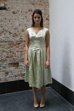 Mint groene/creme jaren 50 jurk