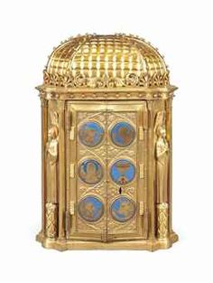 A VICTORIAN ARTS AND CRAFTS ENAMELLED GILT-BRASS TABERNACLE SAFE   									SECOND HALF 19TH CENTURY