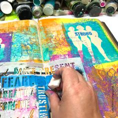 Gel printing in a vintage ledger as an art journal with stencils video tutorial by Carolyn Dube Finding Your Tribe and Uplifting Words #stencil from StencilGirlProducts.com #artjournaling Using a Gel Press printing plate.